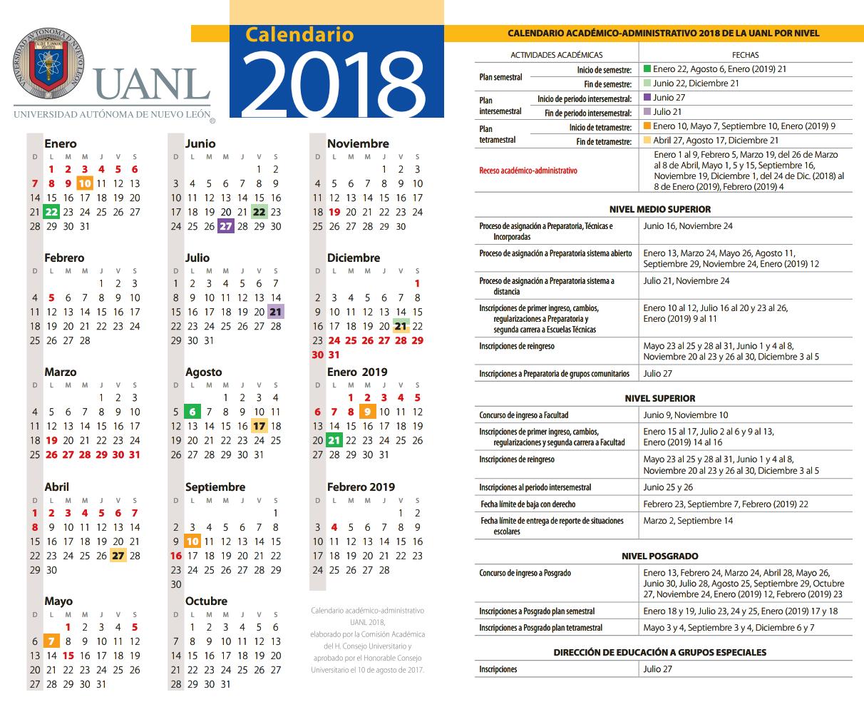 Calendario 2018 Y 2019